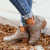 Valuedshoes Laser Cutout Ankle Booties
