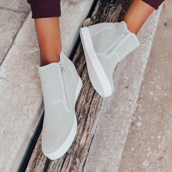 Valuedshoes Women Perforated Wedge Sneakers