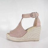 Valuedshoes Perforated Espadrille Wedges Sandals
