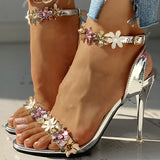 Valuedshoes Flower Sequins Thin Heeled Sandals