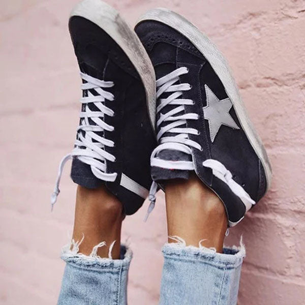Valuedshoes Black Flat Heel Faux Suede Sneakers