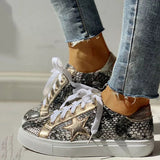 Valuedshoes SnakeSkin Black White Flat Sneakers