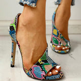Valuedshoes Colorblock Snakeskin Open Toe Thin Heeled Sandals
