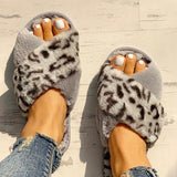 Valuedshoes Fluffy Leopard Crisscross Peep Toe Slippers