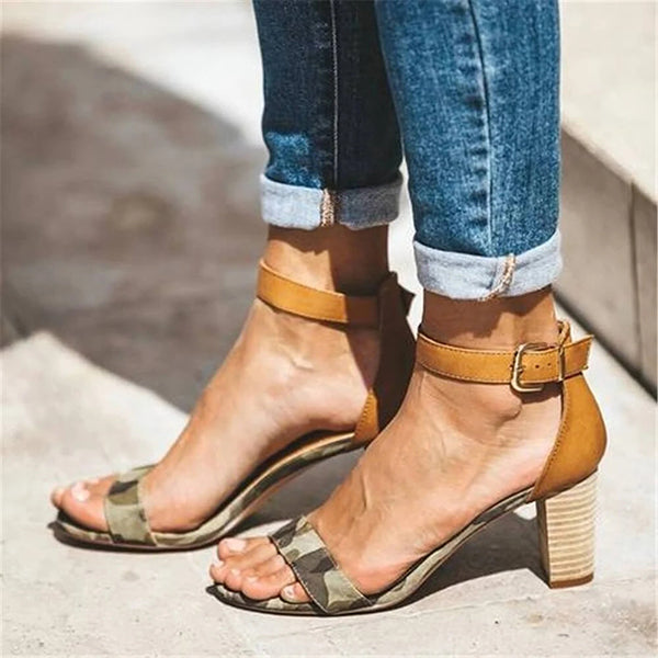 Valuedshoes Fashion Simple Camouflage High Heel Sandals