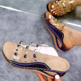 Valuedshoes Women Large Size Rivet Transparent Wedge Slippers