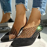 Valuedshoes Women Elegant Stiletto Heel Mesh Rhinestones Sandals