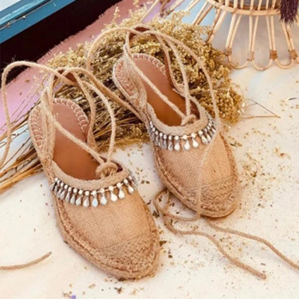 Valuedshoes Casual Rhinestone Lace-Up Sandals