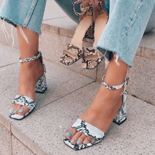 Valuedshoes Women Snakeskin Chunky Heel Sandals