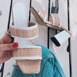 Valuedshoes Straw Mid Heel Slippers