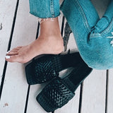 Valuedshoes Faux Leather Woven Strap Slippers