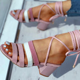 Valuedshoes Striped Tape Colorblock Bandage Chunky Heeled Sandals