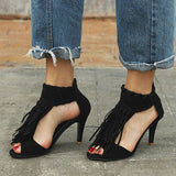 Valuedshoes High-Heeled Tassel Stiletto Sandals