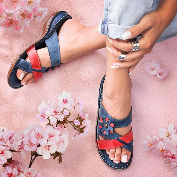 Valuedshoes Retro Colorblock Flower Slippers
