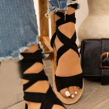 Valuedshoes   Wild Fashion Flat Cross Strap Sandals