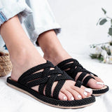 Valuedshoes Casual Hollow Pure Color Flat Slippers