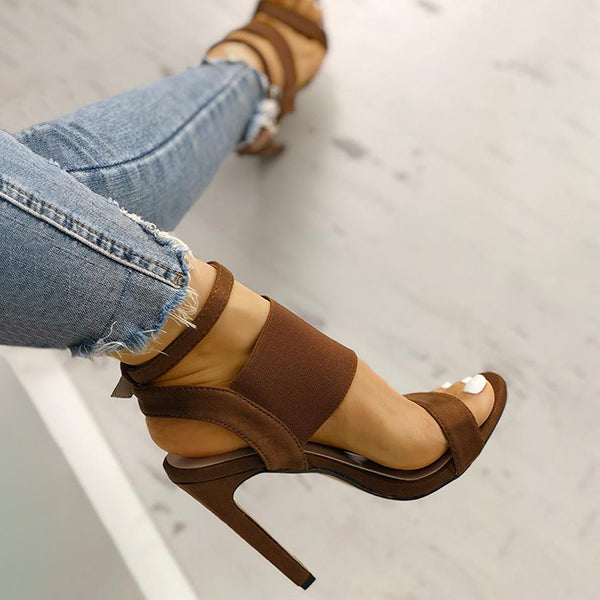 Valuedshoes Woman Open Toe Elastic Strap Heeled Sandals