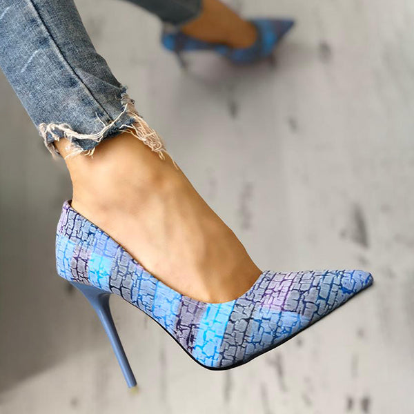Valuedshoes Contrast Color Pointed Toe Thin Heels