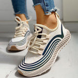 Valuedshoes Lace-Up Low Top Wedge Heel Sneakers