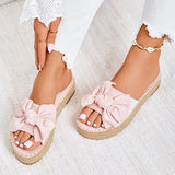Valuedshoes Women Casual Bowknot Muffin Slippers