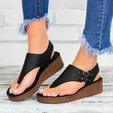 Valuedshoes Women Buckle Hollow-Out Flip-Flops Wedge Heel Sandals Platforms