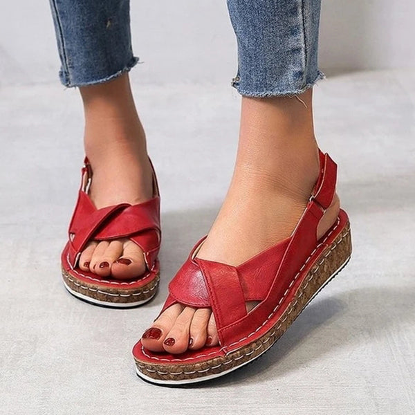 Valuedshoes Women Buckle Slingbacks Flat Heel Sandals