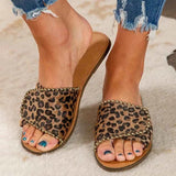 Valuedshoes Leopard Flat Heel Summer Slippers