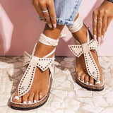 Valuedshoes Women Bowknot Metal Circle Thongs Lace-Up Flat Heel Sandals