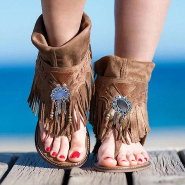 Valuedshoes Flat Tassel Holiday Beach Sandals