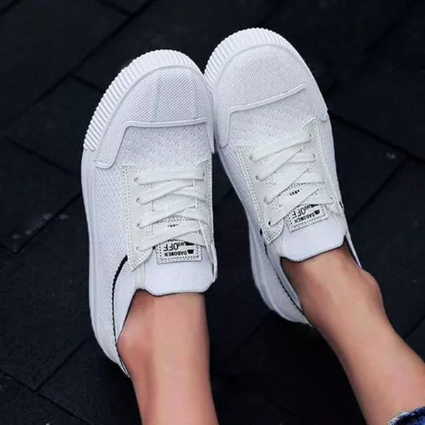 Valuedshoes Women'S Lace-Up Round Toe Cloth Flat Heel Sneakers