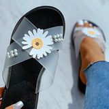 Valuedshoes Women Daisy Pattern Beaded Transparent Flat Sandals