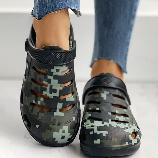 Valuedshoes Women Camouflage Cutout Design Flat Sandals
