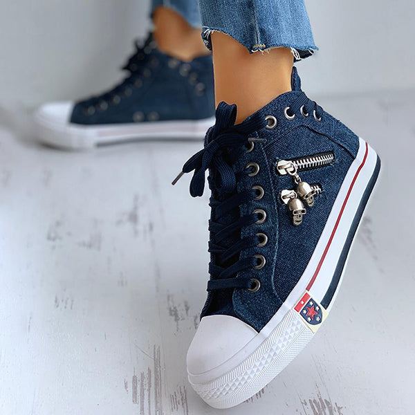 Valuedshoes Women Lace-Up Skeleton Zipper Detail Casual Sneakers