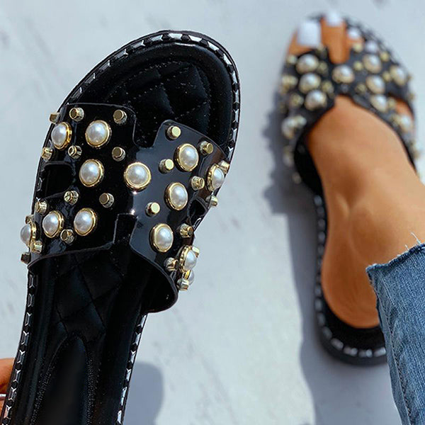 Valuedshoes Women Beaded Open Toe Flat Slippers