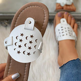 Valuedshoes Women Toe Star And Moon Pattern Hollow Out Flat Sandals