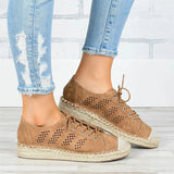 Valuedshoes Women Stitching Hollow Comfy Breathable Hemp Side Casuale Loafers Sneakers