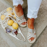 Valuedshoes Cream Espadrille Platform Sandals