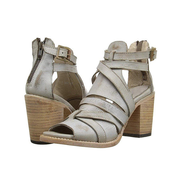 Valuedshoes Summer Vintage Buckle Strap Heel Sandals