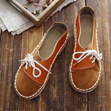 Valuedshoes Women Vintage Round Toe Brown Flats