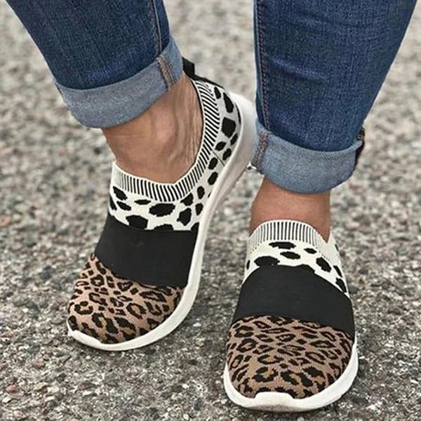 Valuedshoes Leopard Flat Heel Dress Sneakers