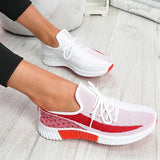 Valuedshoes Women Hit Color Lace Up Breathable Sneakers