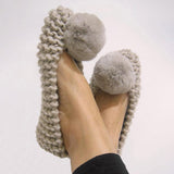 Valuedshoes Round Toe Chunky Knit Flat Slip-On Shoes