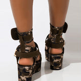 Valuedshoes Open Toe Platform Buckle Strappy Platform Sandals