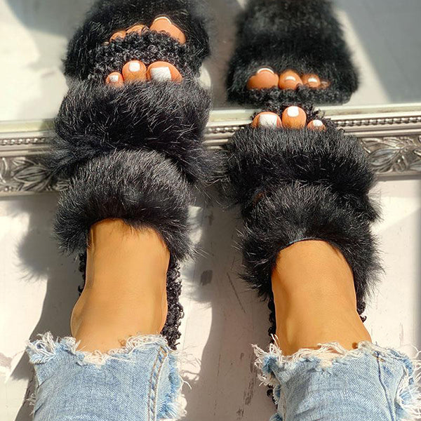 Valuedshoes Women Casual Fluffy Slippers