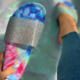 Valuedshoes Studded Tie Dye Open Toe Slippers