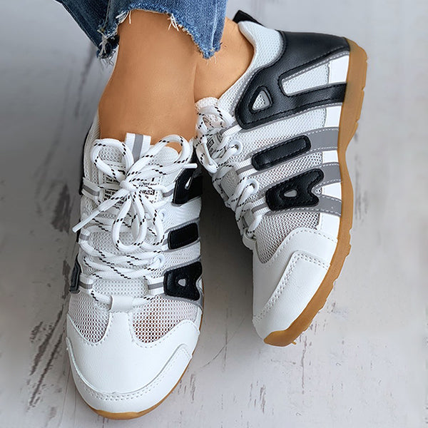 Valuedshoes Letter Pattern Colorblok Lace-Up Sneakers