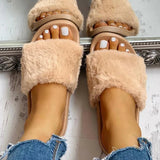 Valuedshoes Women Open Toe Fluffy Decor Slippers