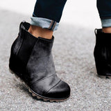 Valuedshoes Women Winter Slip On Wedge Boots