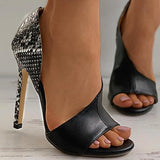 Valuedshoes Snakeskin Colorblock Peep Toe Stiletto Heels
