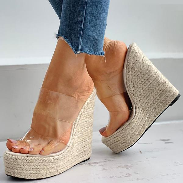 Valuedshoes Woven Flax Clear Perspex Wedge Sandals